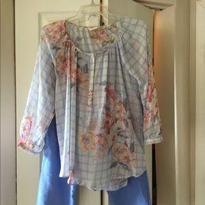Two piece blouse and capri set